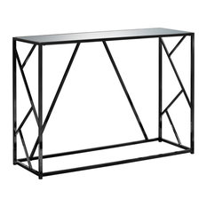 32-inch Black Metal Accent Table With A Mirror Top