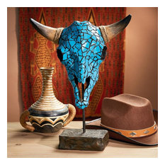 Western Faux Turquoise Encrusted Cow Skull Statue