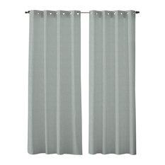 GIRONES - Zen Gingham Eyelet Curtains, Blue - Curtains