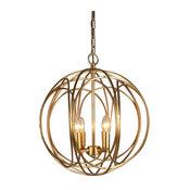 Elio Gold Leaf 4-Light Orb Transitional Pendant