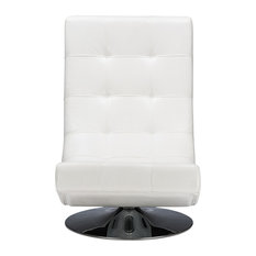 Elsa and White Faux Leather Upholstered Swivel Chair With Metal Base