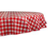 """Red Check Vinyl Tablecloth, 70"""" Round"""