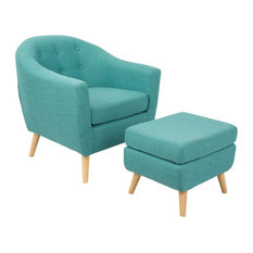LumiSource Rockwell Chair With Ottoman, Teal
