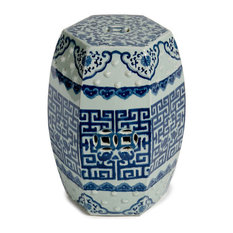 Blue & White Hexagonal Garden Stool