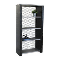 Industrial Bookcase Metal Finish Shelves