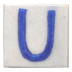 "Ceramic Tiles 2""x 2"", U, Set of 5 Tiles"