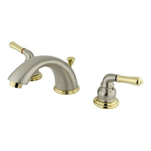 """2 Handle 4""""-8"""" Widespread Faucet, Retail Pop-up, Brushed Nickel/Polished Brass"""