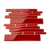 "9.5""x10.5"" Glass Club Tiles, Set of 11, Ruby Red"
