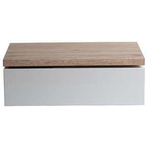 White and Natural Storage Coffee Table