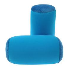 """Microbead Neck Roll Bolster Pillows, Medium Blue, 13""""x6"""""""