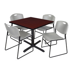 Cain 42-inch Square Breakroom Table- Mahogany & 4 Zeng Stack Chairs- Grey