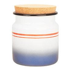 Blue and Red Stripe Enamel Jar