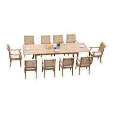 """Teak Deals - 11-Piece Outdoor Teak Dining Set, 117"""" Rectangle Table, 10 Giva Arm Chairs - Outdoor Dining Sets"""