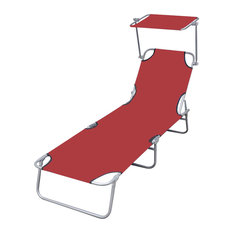 Outdoor Foldable Sunbed With Canopy, Red, 189x58x27 cm