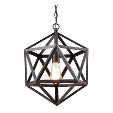 CLAXY   Industrial Edison Hanging Pendant 1 Light Art Deco Cage Lamp Guard,  Large
