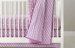 Mosaic Paisley Crib Bedding, Lavender