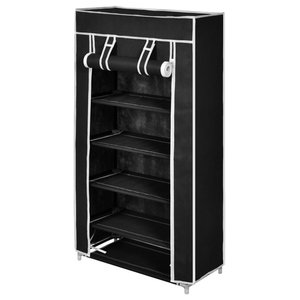 VidaXL Fabric Shoe Cabinet With Cover, Black, 58x28x106 cm