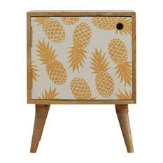 Pineapple Door Bedside Table, Oakish/Screen Printed, 45x35x57 cm