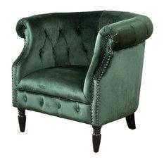 GDF Studio Aries New Velvet Tub Style Club Chair Emerald