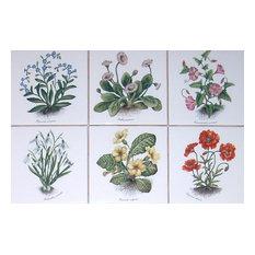 Flower Kiln Fired Ceramic Tile Poppies Morning Glories Decor, 6-Piece Set