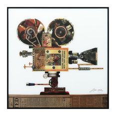 """Antique Film Projector"" Reverse Printed Art Framed With Black Anodized Aluminum"