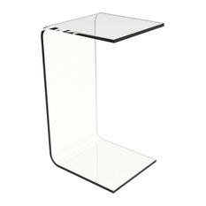 Acrylic Side Table-Clear and Modern C-Style Vertical End Table by Lavish Home