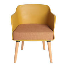 Pine and PVC Armchair, Mustard