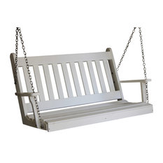 4' Poly Traditional English Porch Swing, Bright White