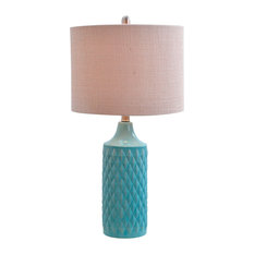 Alexa Quilted Ceramic Table Lamp, Spa Blue   Table Lamps