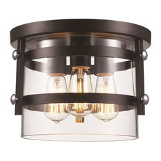 Trans Globe  Lighting, 3-Light Open Cylinder Flushmount, Black / Polished Chrome