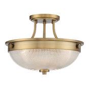 Semi Flush 3-Light Weathered Brass