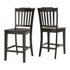 Arbor Hill Slat Back Counter Chair, Set of 2, Antique Black
