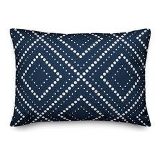 Navy and White Dotted Diamond 14x20 Lumbar Pillow