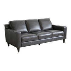 Abbyson Living Stardell Top Grain Leather Sofa Dark Gray
