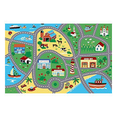 "City Street Map Children Carpet Classrooms Play Mat Area Rug, 4'5""x6'9"""