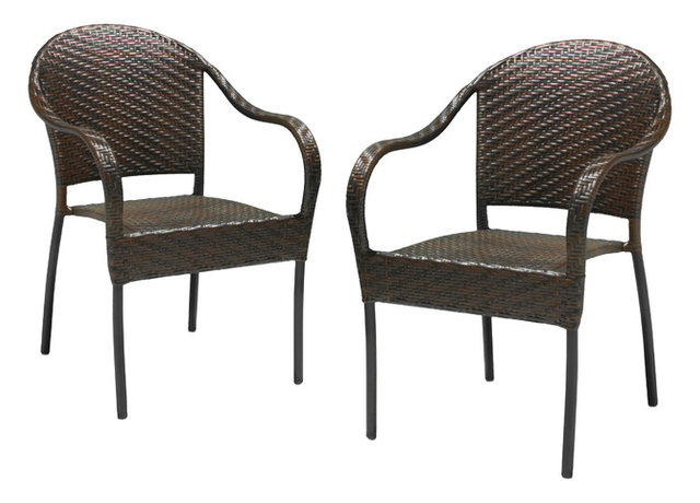 Rancho Outdoor Brown/Gray Wicker Stackable Chairs, Set Of 2 Brown