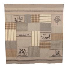 Gray Farmhouse Bath Miller Farm Shower Curtain Rod Pocket Cotton Nature Print