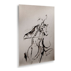 Marc Allante 'The Cellist Sketch' Floating Brushed Aluminum Art, 16x22