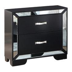 Cosmos Furniture Gloria Black Contemporary Nightstand In Black Finish Wood