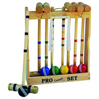 """Maple Hardwood Croquet Set With Caddy, 6-Player, 24"""" Standard Handle"""