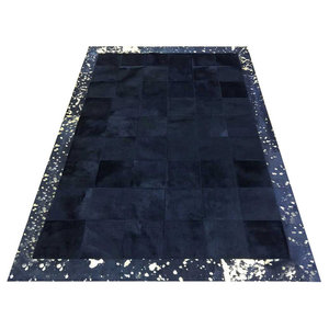 Patchwork Leather Cubed Cowhide Rug, Black With Gold Acid Border, 200x300 cm