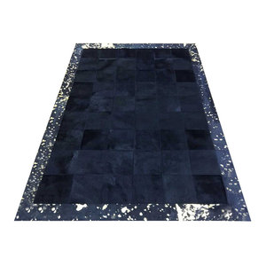 Patchwork Leather Cubed Cowhide Rug, Black With Gold Acid Border, 180x240 cm