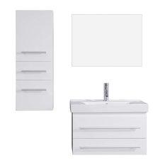 """Antonio 29"""" Single Bathroom Vanity Cabinet Set, White"""
