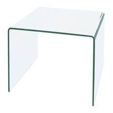 Waterfall Bent Glass End Table