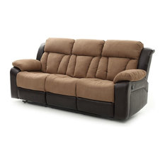 Glory Furniture   Springfield Reclining Sofa, Brown Faux Leather Cocoa  Micro Suede   Sofas