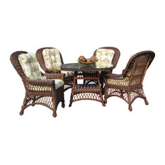 "Bar Harbor 5-Piece Dining Set With 42"" Glass in Brown Wash, Summer Breeze Fabric"