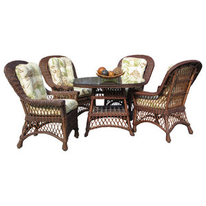 """Bar Harbor 5-Piece Dining Set With 42"""" Glass, Brown Wash, Rave Watermelon Fabric"""