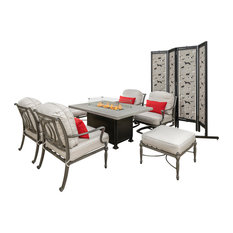 Bel Air 7-Piece Conversation With Rectangular Fire Table, No Pillows and Screen
