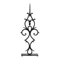 "Colonial Williamsburg Iron Scroll Clock Hand Statue 37"" Open Swirl Antique Style"