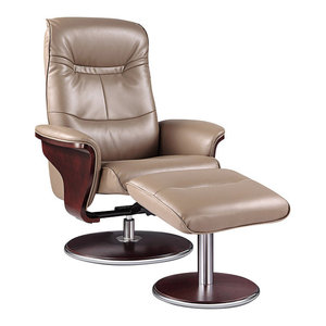 Milano Leather Swivel Recliner and Ottoman, Chocolate